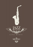 Fototapety cover for a jazz restaurant menu with cutlery and saxophone