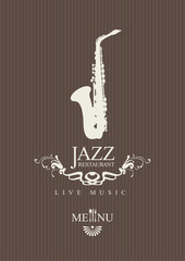 cover for a jazz restaurant menu with cutlery and saxophone