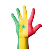 Open hand raised, Senegal flag painted