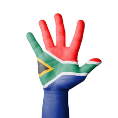 Open hand raised, South Africa flag painted