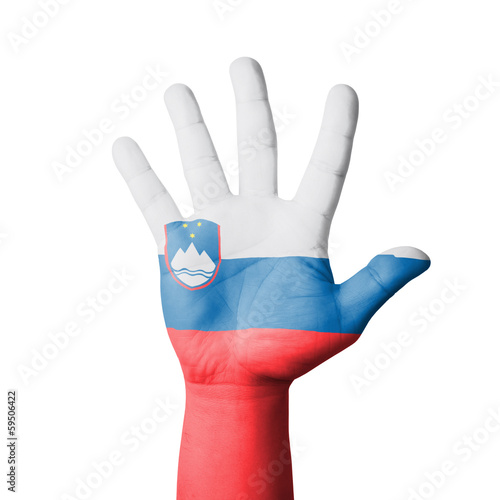 Open hand raised, Slovenia flag painted