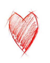 Red Heart isolated on white, sketching