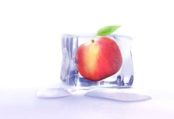 Fruit frozen in ice cube