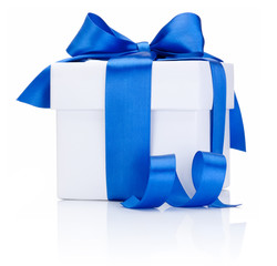 One White boxs tied Blue satin ribbon bow Isolated on white back
