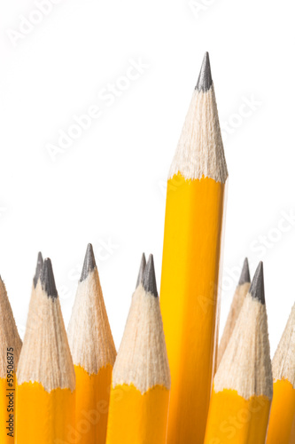 Sharpened pencil standing out from the bunch isolated on white