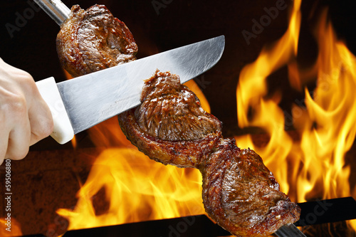 Deurstickers Grill / Barbecue Picanha, traditional Brazilian barbecue.