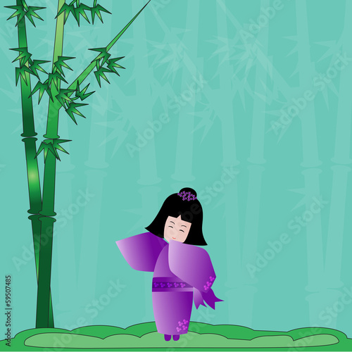 Japanese girl and bamboo