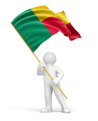 Man and Benin flag (clipping path included)
