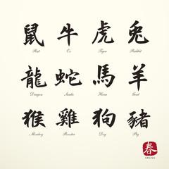 calligraphy zodiac symbols