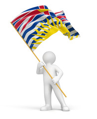 Man and flag of British Columbia (clipping path included)