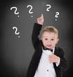 kleiner Junge hebt die Hand zu Frage