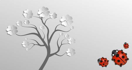 Baum Klee Marienkäfer