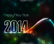 Vector Beautiful elegant colorful new year 2014 card wave backgr