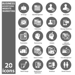 Business,Marketing & Advertise icons,Gray version,vector