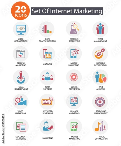 Internet Marketing icons,Colorful version,vector