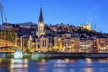 Berühmte Ansicht von Lyon mit Fluss Saone