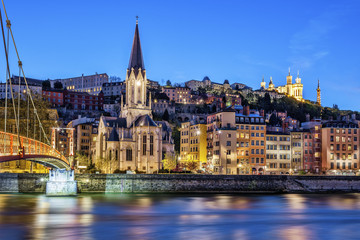 Famous view of Lyon with Saone river