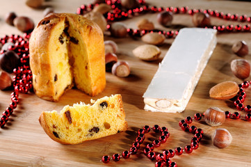 Panettone with christmas decoration