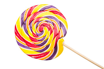 Sweet Twisted Lollipop Candy Isolated On White Background