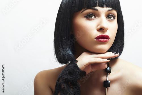 Retro Beautiful Brunette Girl. Healthy Black Hair. bob Haircut