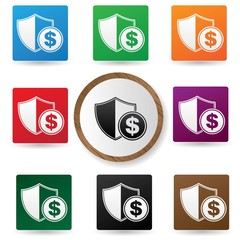 Protect money symbol,Colorful buttons,vector