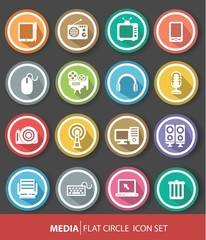 Media icons,Colorful version,Vector