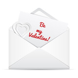 Love letter in envelope. Be my Valentine