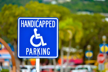 Worn handicapped parking sign