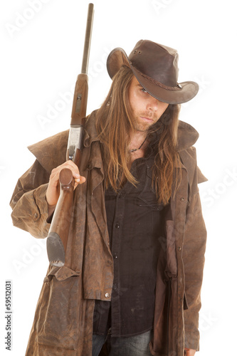 cowboy long hair rifle over shoulder look