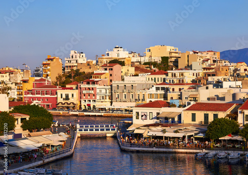 Agios Nikolaos embankment at evening in Crete, Greece.