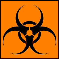 Biohazard orange circle icon