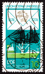 Postage stamp GDR 1974 Freighter and Paddle Steamer
