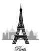 vector paris skyline silhouette