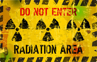nuclear radiation warning sign, vector