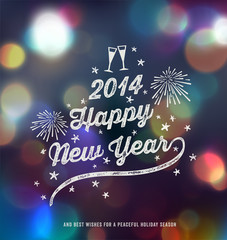 New Year, Handwritten Typography over blurred background