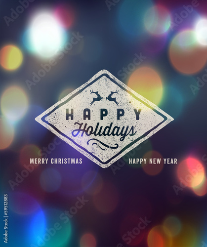Holidays Handwritten Typography over blurred background