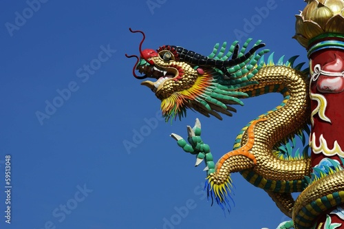 Plexiglas Standbeeld Chinese Dragon Sculpture at Chinese Temple