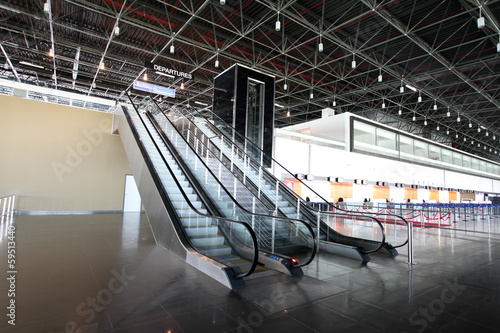 Airport Departures Gate With Escalators