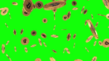 Bitcoin rain on greenscreen