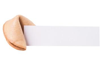 Glückskeks mit Zettel isoliert