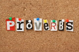 The word Proverbs on a cork notice board