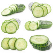 Collections of Cucumbers slices isolated on white background
