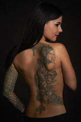 Beautiful sexy glamorous girl with tattoos
