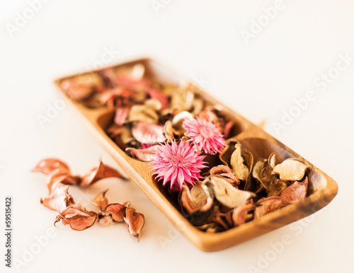 closeup of pot-pourri in wooden bowl