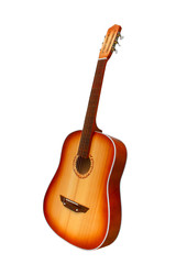 acoustic guitar brown isolated white background (clipping path)