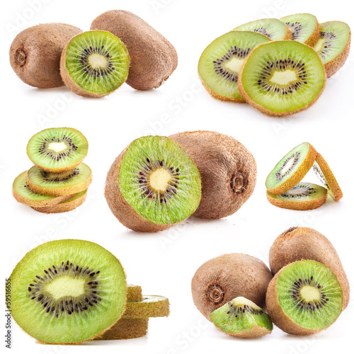Collection of fresh kiwi isolated on white background