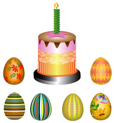 Easter bread with colorful eggs, 3D
