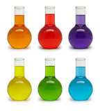 Set of flasks with colored liquid.