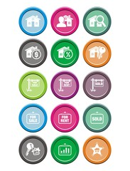 real estate round icon sets
