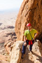 Bergsteiger an der Spitzkoppe